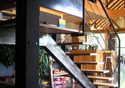 escalier acier/bois